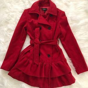 Iz Byer Red Ruffle Tie Waist Pea Coat